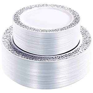 WDF 102PCS Silver Plastic Plates-Disposable Plastic Plates with Silver Rim- Lace Design Plastic Wedding Party Plates including 51Plastic Dinner Plates 10.25inch,51 Salad Plates 7.5inch