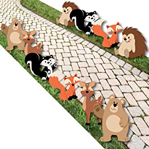 Stay Wild - Forest Animals - Bear, Deer, Hedgehog, Skunk and Fox Lawn Decorations - Outdoor Woodland Baby Shower or Birthday Party Yard Decorations - 10 Piece