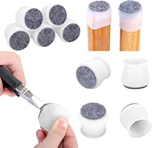 24 Pcs Silicone Chair Legs Caps - Furniture Foot Protectors - Free Moving Table Feet Covers - Stool Leg Floor Protectors Prevent Scratches and Noise