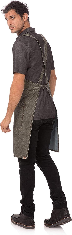 Chef Works unisex adult Denver Cross-back Bib Work Utility Apron, Olive Wood, One Size US: Clothing