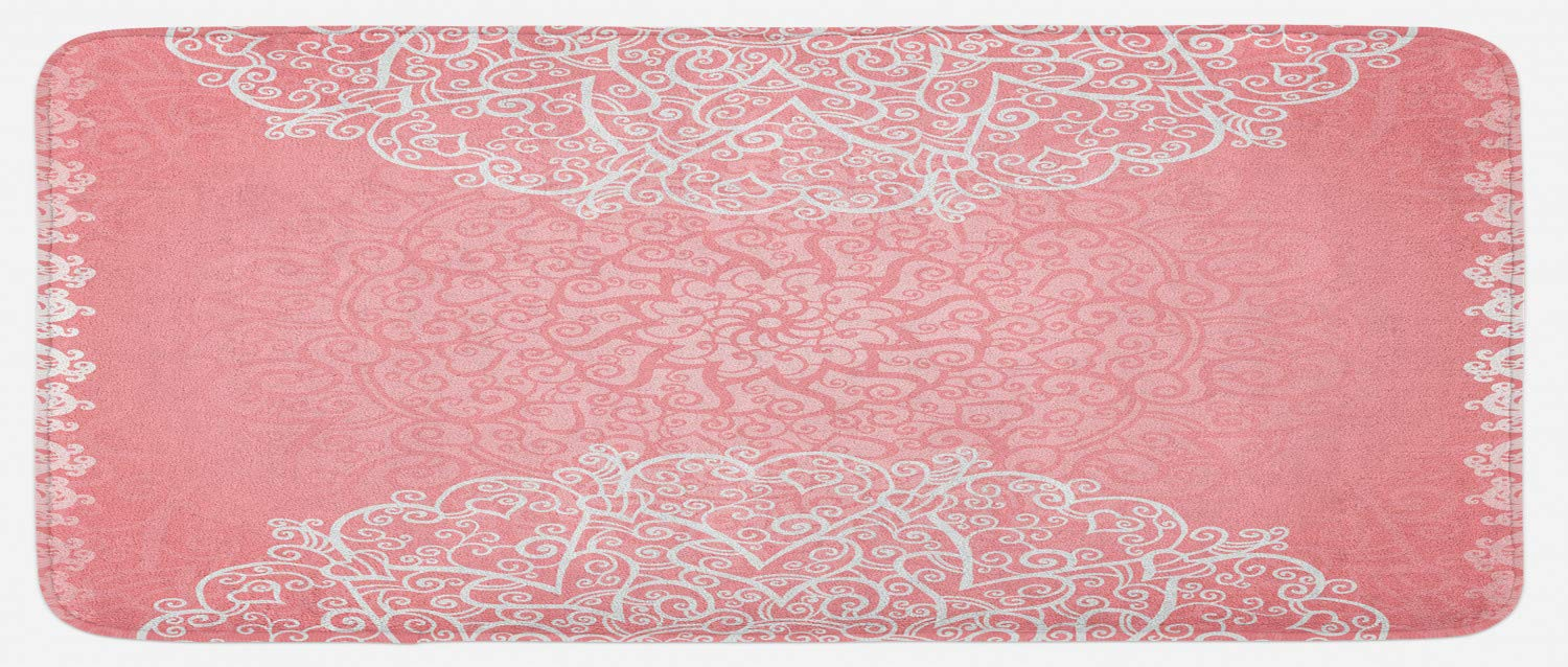 Lunarable Pale Pink Kitchen Mat, Doily Inspired Cute Lace Style Round Motifs with Ornate Intricate Hearts, Plush Decorative Kitchen Mat with Non Slip Backing, 47 W X 19 L Inches, Pale Pink White