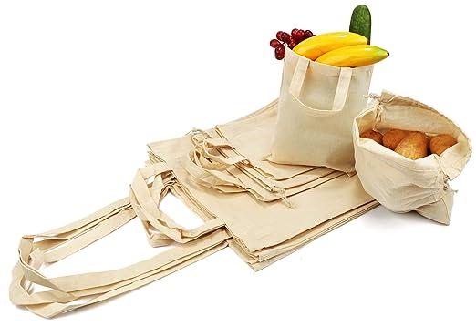 com-four® Juego de 10 Bolsas de algodón - Bolsas de Transporte Reutilizables - sin impresión, Ideal para Pintar - Oeko-Tex® Standard 100 (Set - 10 ...