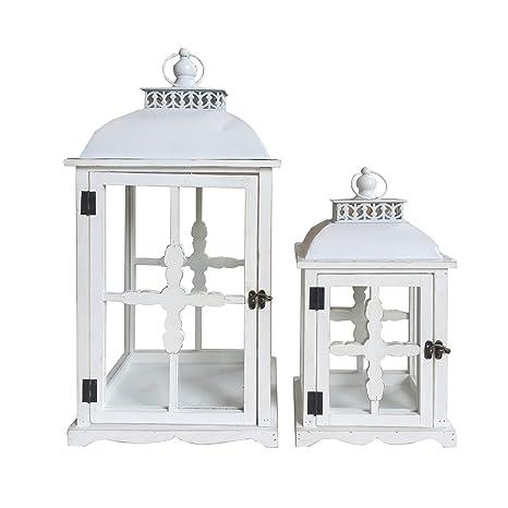 Lanterne Bianche Da Esterno.Rebecca Mobili Set 2 Porta Candele Da Decorazione Lanterne Shabby