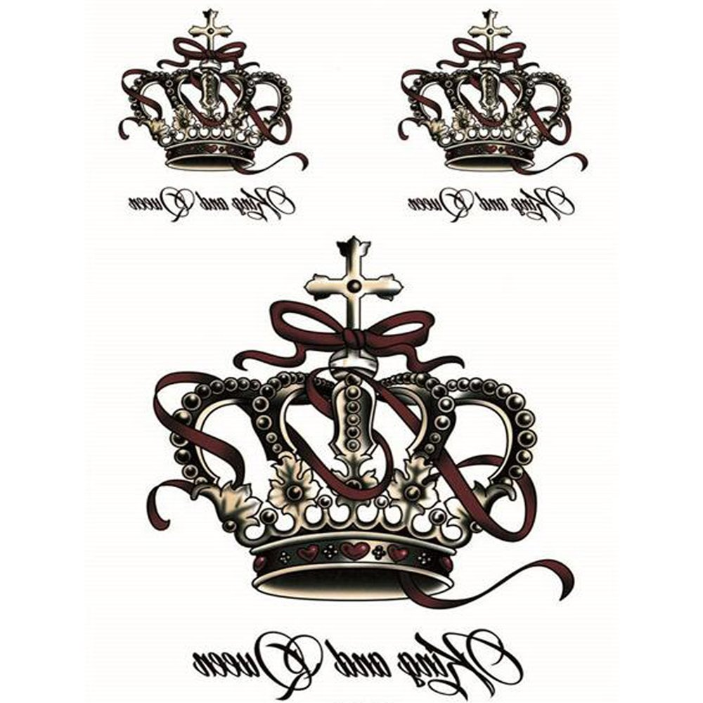Amazoncom Yeeech Temporary Tattoos Stickers Crown King And Queen
