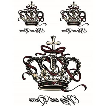 266f5077a Amazon.com : Yeeech Temporary Tattoos Stickers Crown King and Queen Cross  Ribbon Designs Waterproof for Women : Beauty