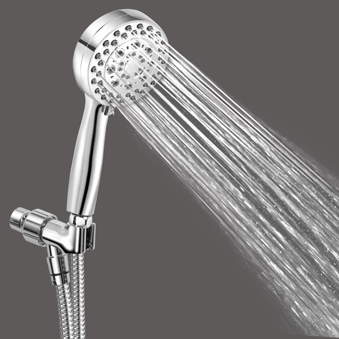 Shower Head With Hose - 5 Function Shower Head Removable Water Restrictor- Luxury Full Chrome Finish Hand Shower by SuperArt (Image #4)