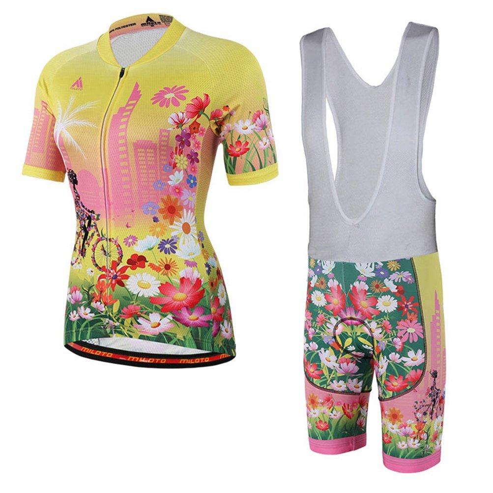 Uriah Women 's Cycling Jersey Bib Shortsホワイトセット半袖Reflective B06Y2B7Q1V Large|Happy Angel Happy Angel Large