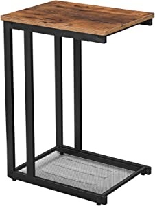 VASAGLE INDESTIC Side Table, End Table with Mesh Shelf, Nightstand, Breakfast by The Bed, Under Sofa, in Living Room Bedroom, Easy Assembly, Space Saving, Industrial, Rustic Brown ULNT51X