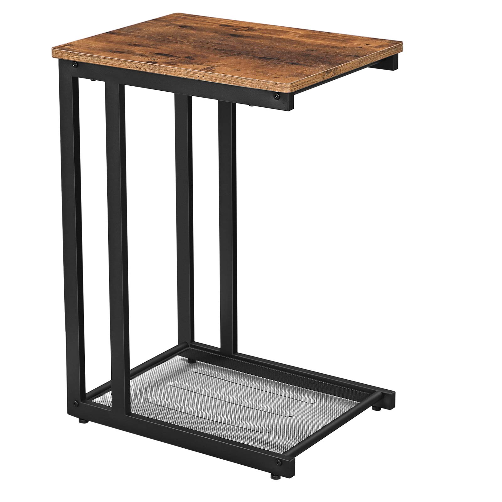 VASAGLE INDESTIC Side Table, End Table with Mesh Shelf, Nightstand, Breakfast by The Bed, Under Sofa, in Living Room Bedroom, Easy Assembly, Space Saving, Industrial, Rustic Brown ULNT51X by VASAGLE