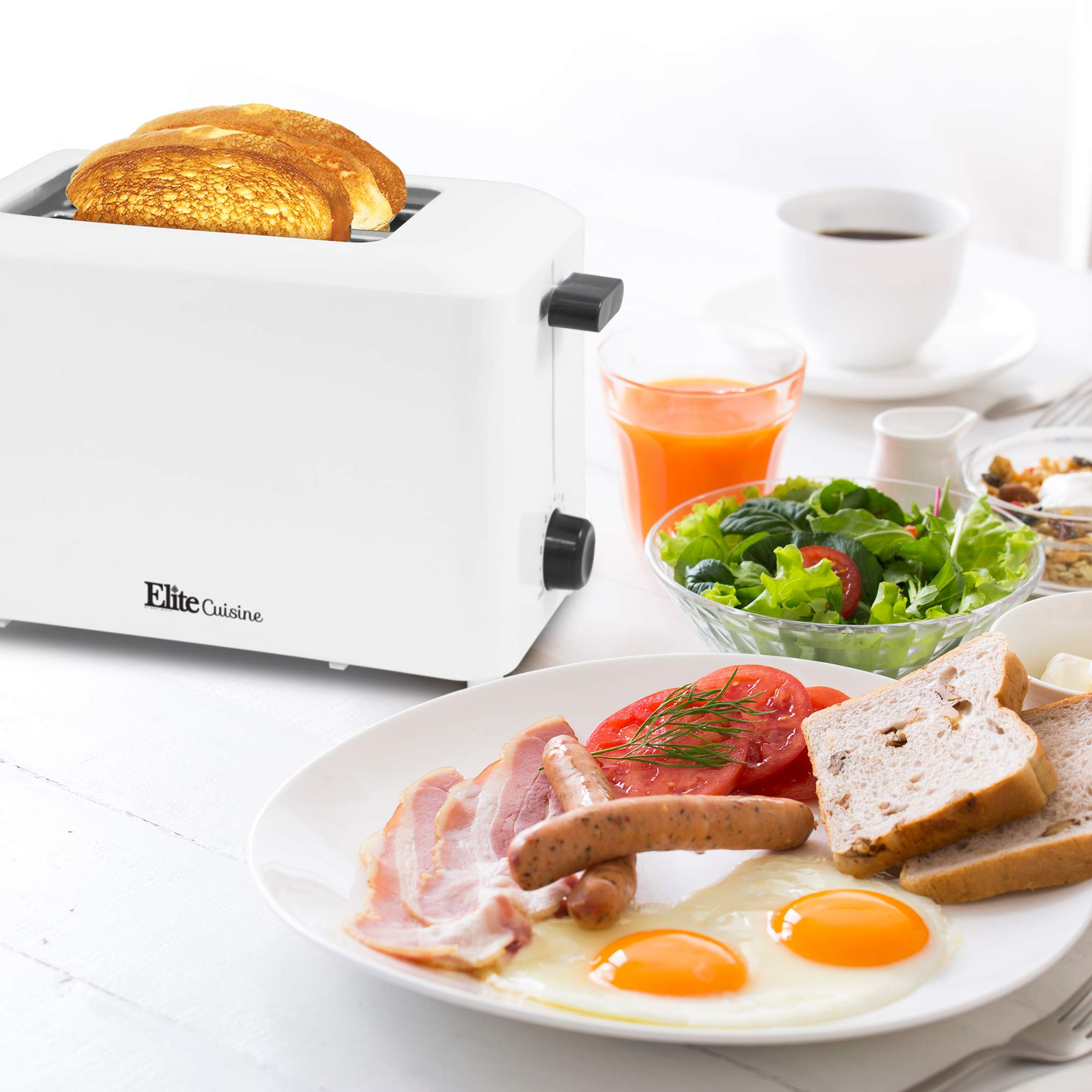 Elite Cuisine ECT-1027 Cool Touch Toaster with Extra Wide 1.25'' Slots for Bagels and Specialty Breads, 2 Slices, White by Elite Cuisine (Image #7)
