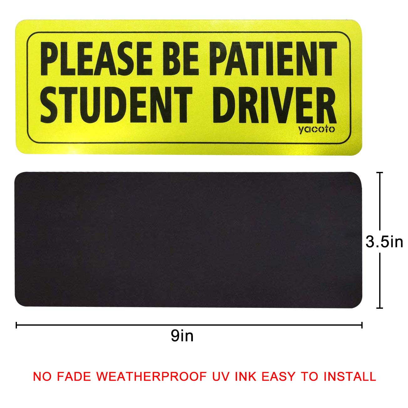 3 Pack Yacoto FBA/_P01 Set of 3 Please Be Patient Student Reflective New Driver Decal Vehicle Car Signs Magnetic Safety Sticker