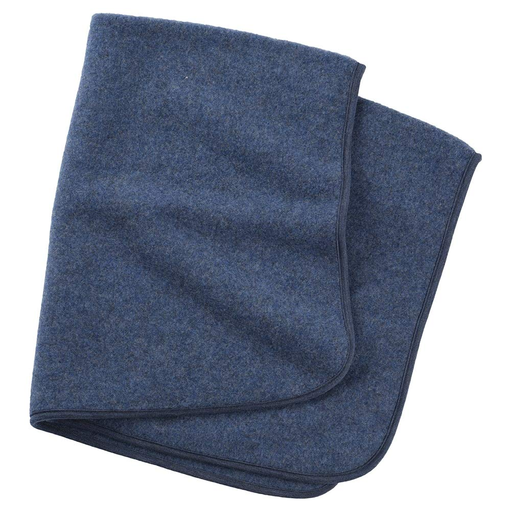 Baby Thermal Blanket: Washable All Weather Merino Wool Receiving Blanket, 31x40 inches (Blue Melange) by Ecoable