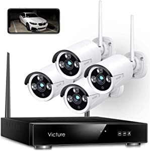 Wireless Security Camera System, Victure 1080P 8 Channel NVR 4PCS Outdoor WiFi Surveillance Camera with IP66 Waterproof, Night Vision, Motion Alert, Remote Access, No Hard Disk