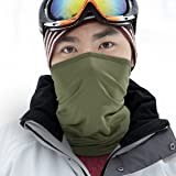 WTACTFUL 2 Pack - Lightweight Soft Neck Gaiter Neck Warmer Face Mask Windproof Protection Cover for Motorcycle Cycling Fishing Hunting Hiking Riding Climbing Ski Snowboard Outdoor Sports Green