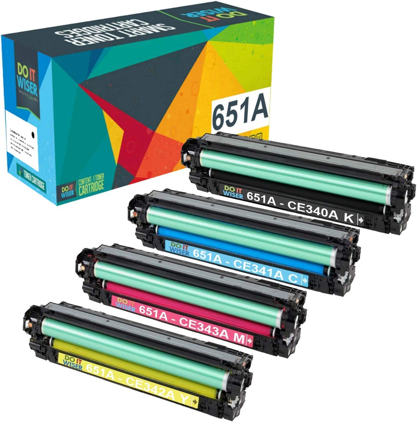 Do it Wiser Compatible for HP 651A CE341A CE342A CE343A CE340A Toner for HP Laserjet Enterprise 700 MFP M775 M775dn - 4 Pack