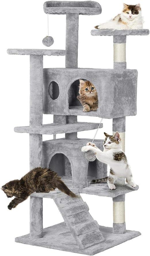 Yaheetech Árbol para Gatos Rascador con Plataforma Escalador para Gatos con Bolas 50 X 50X 130 cm: Amazon.es: Productos para mascotas
