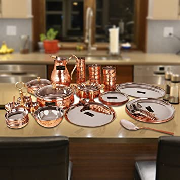 Exceptional CwC Royal Pure Steel Copper Hammered Dinner Set, Handmade Royal Dining Set  Of 63 Pcs