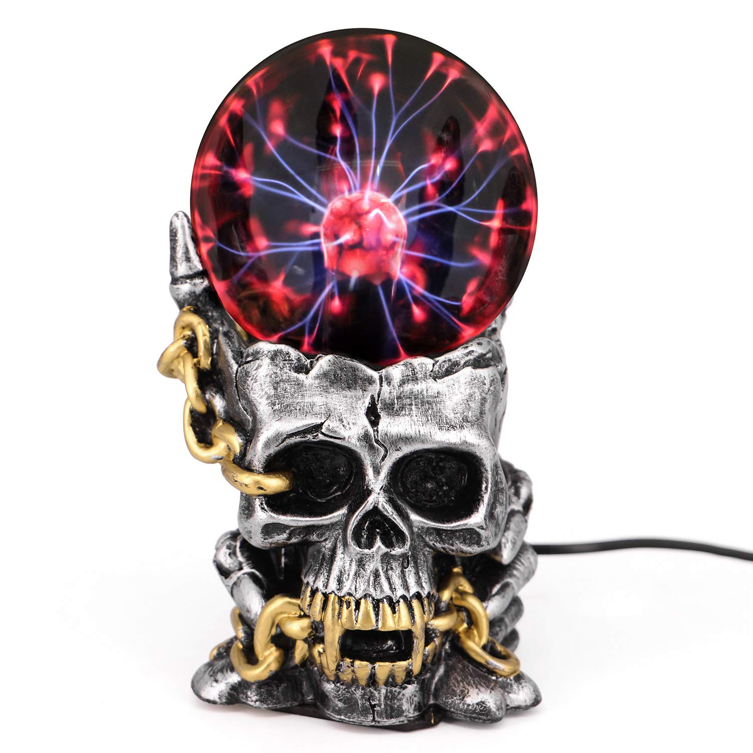 QTKJ Resin Plasma Ball, Skull Head Claw Touch Sensitive Electric Globe Static Light for Home and Party, Holiday Decorations Gifts