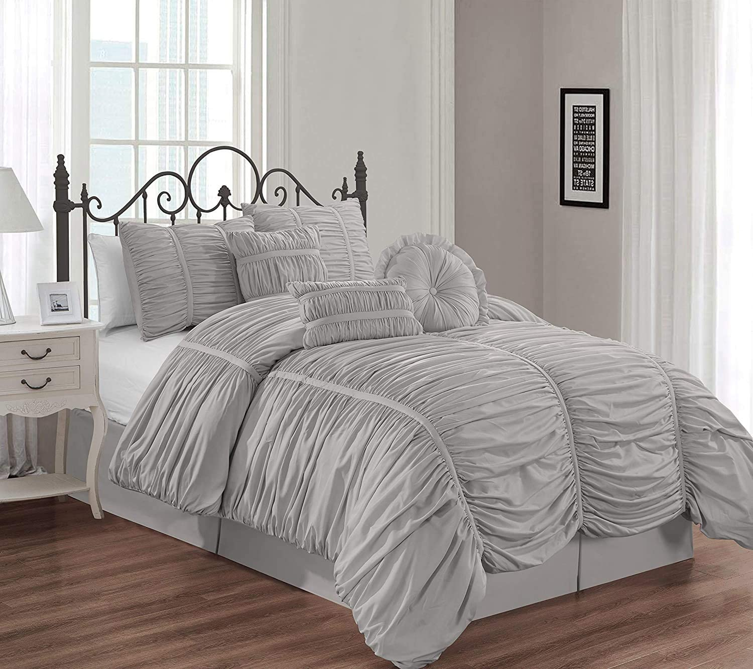 Chezmoi Collection Chic 7-Piece Silver Gray Ruched Ruffle Pleated Comforter Bedding Set, California King Size