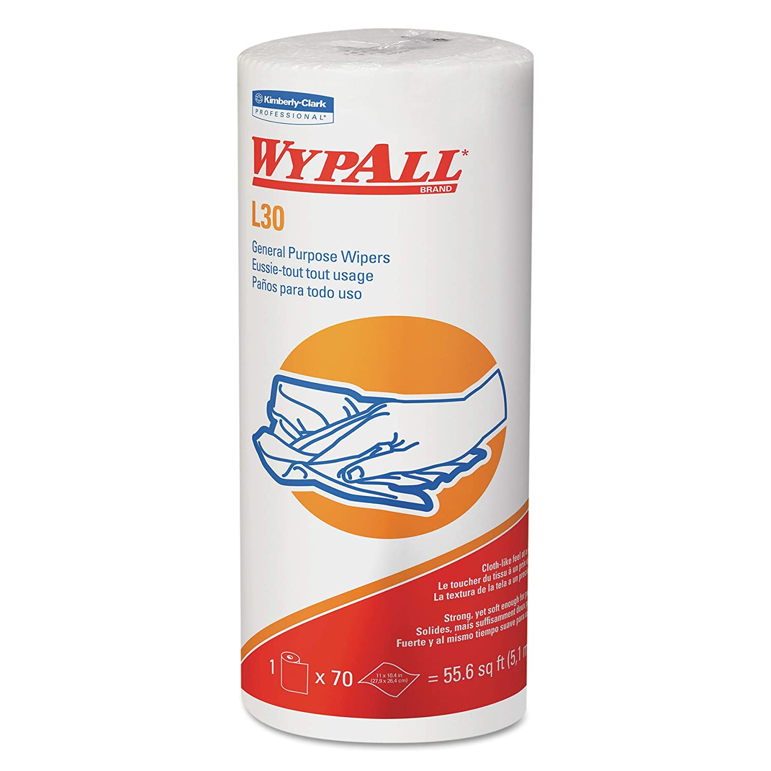 Wypall L30 DRC Towels (05843), Strong and Soft Wipes, White, 24 Rolls / Case, 70 Sheets / Small Roll, 1,680 Wipes / Case