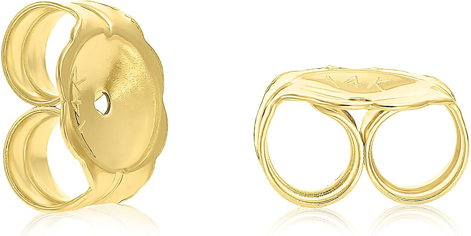 Earring Back Secure Grip Screw or Push 14k solid White or Yellow Gold