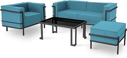 Salón de jardín de 4 plazas, Color Azul, Marco Antracita: Amazon.es: Jardín