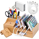 Bamboo Charging Station for Multiple Devices with 5 Port USB Charger, 5 Charger Cables and Smart Watch Stand. Wood Desktop Do
