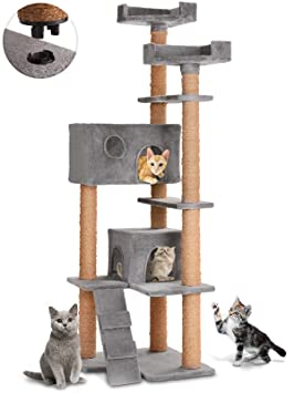 Leopet - Árbol rascador para gatos con cuevas, plataformas y escalera - altura aprox. 166 cm - color gris: Amazon.es: Hogar