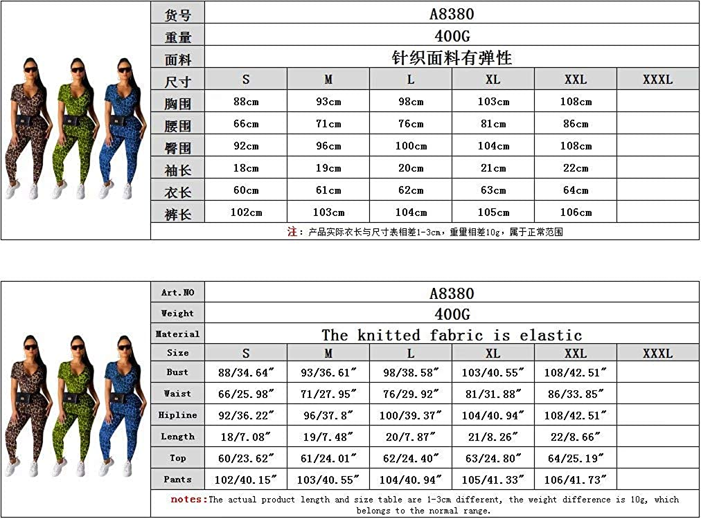 Geulis Womens Casual Leopard Jumpsuits Short Sleeve Round Neck Long Pants Bodycon Rompers Plus Size