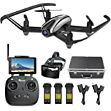 Drone with Camera, Potensic RC Quadcopter 720P HD Live Video 5.8Ghz FPV 5 Inch Screen Monitor Headless Mode & Altitude Hold Function & Carrying Case & VR Glasses