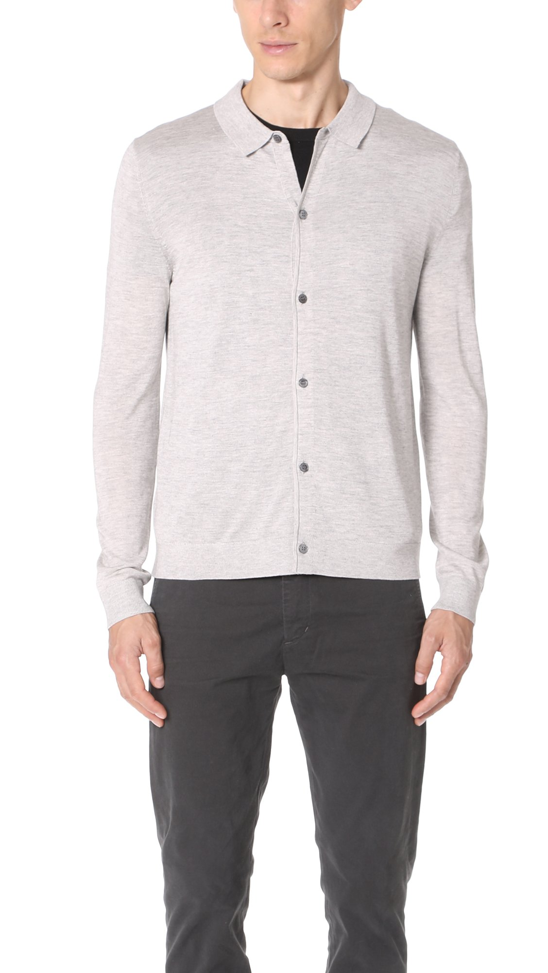 Theory Men's Anvers Admiral Top, Foam Heather, Medium