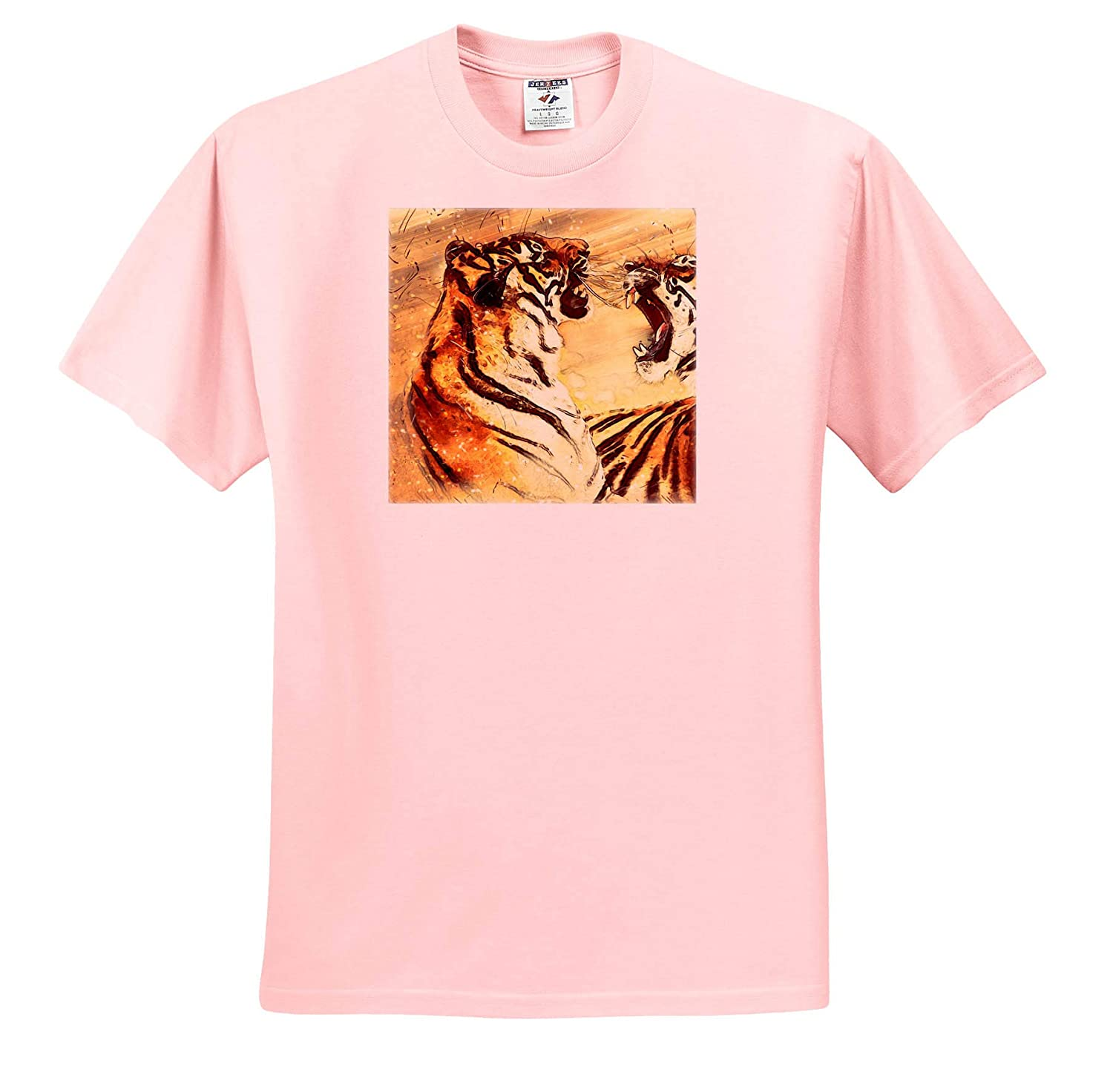3dRose Sven Herkenrath Animal Illustration of Two Fighting Tigers with Colorful Background T-Shirts