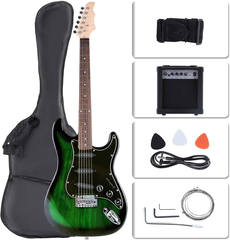 LAGRIMA - Kit de guitarra eléctrica para principiantes de tamaño completo de 39 pulgadas con 15 W de amplificador, afinador, cuerdas, púas, correa para el hombro y bolsa (verde): Amazon.es: Instrumentos musicales