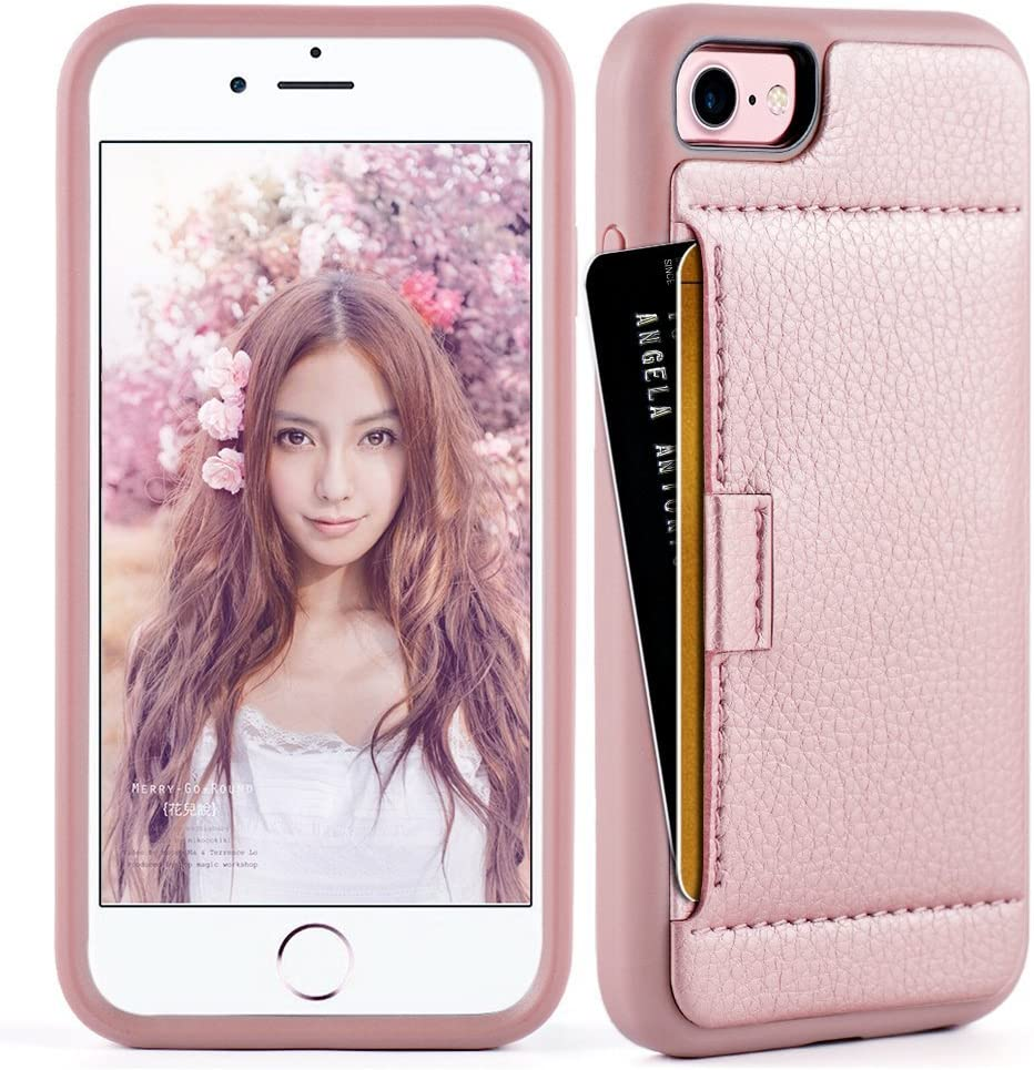 ZVE Wallet Case for Apple iPhone SE 2020, iPhone 8 and iPhone 7, 4.7 inch, Slim Leather Wallet Case with Credit Card Holder Slot Pocket Protective Case Cover for Apple iPhone 7/8/SE 2020- Rose Gold