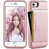 iphone 8 Wallet Case , iphone 8 / 7 Case, ZVE iphone 7 / 8 case with Credit Card Holder Case Ultra Protective hybrid Shockproof Leather Wallet Case For Apple iPhone 7 / iPhone 8 2017 (Rose Gold)