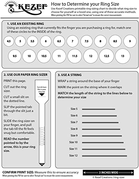 This is a graphic of Ring Size Printable intended for engagement