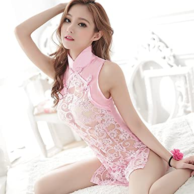 bcea6d861 AJZGFEuropean and American sexy temptation Sexy Lingerie Sexy Lace  Transparent Classical Seduction Cheongsam Tulle Skirt Uniform