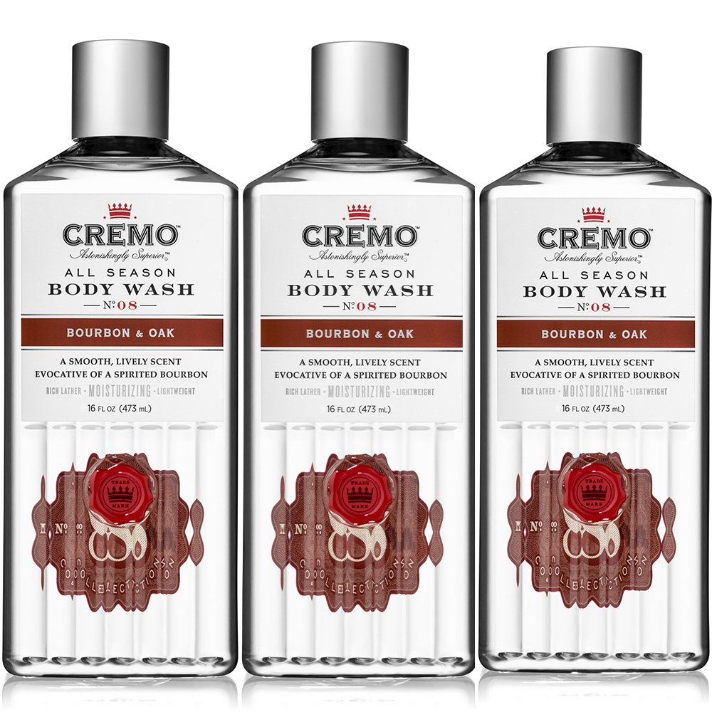 Cremo All Season Body Wash, Bourbon & Oak, 16 Ounce (Pack of 3)