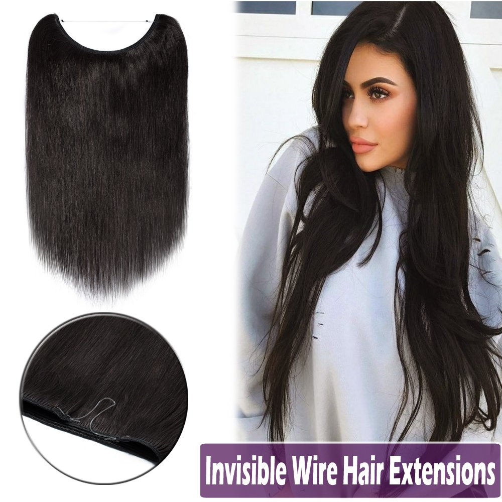 Amazon.com : 20 Inch Human Hair Hidden Wire Extensions Flip on ...