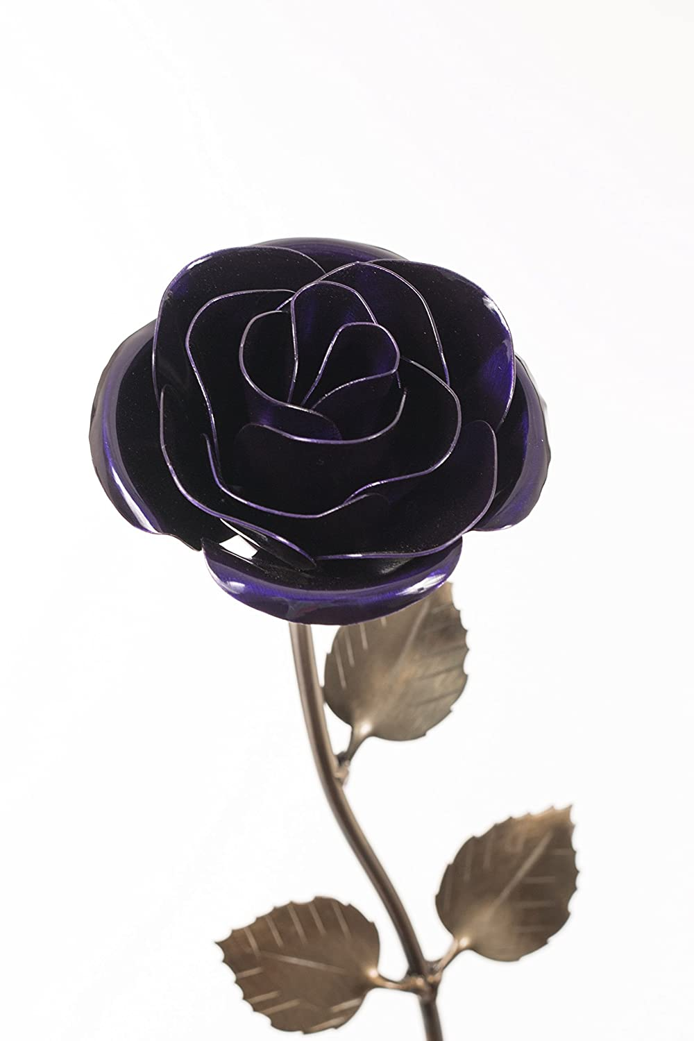 Personalized Hand-Forged Wrought Iron Purple Metal Rose