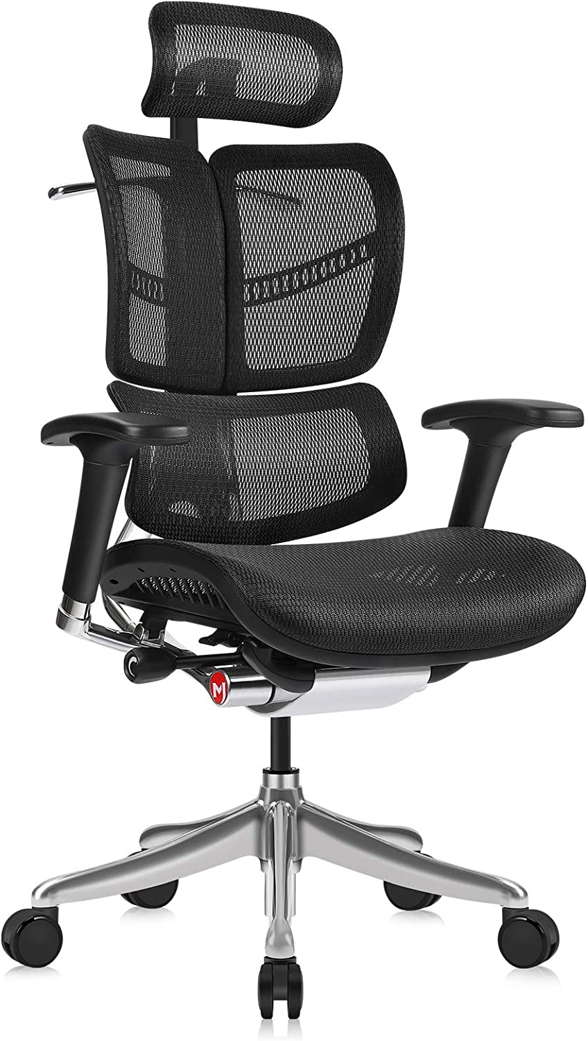 Ergonomic Office Chair with Headrest Adj and Tilt Limiter | Backrest Height Adj | Seat Depth Adj | 3-Dimensional Dynamic Backrest and Lumbar Support | Aluminum Frame/Base with Standard Carpet Casters