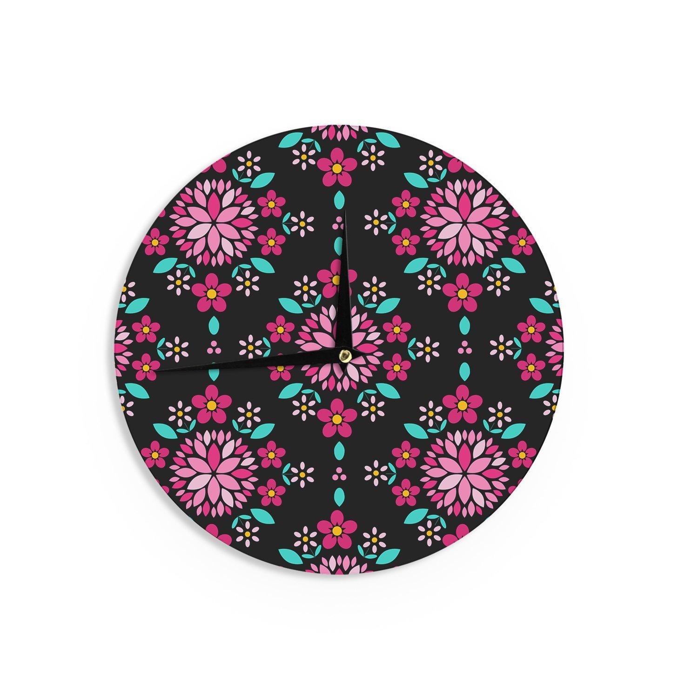 Kess InHouse Anneline Sophia Dahlia Mandala Pink Black Wall Clock 12 Diameter