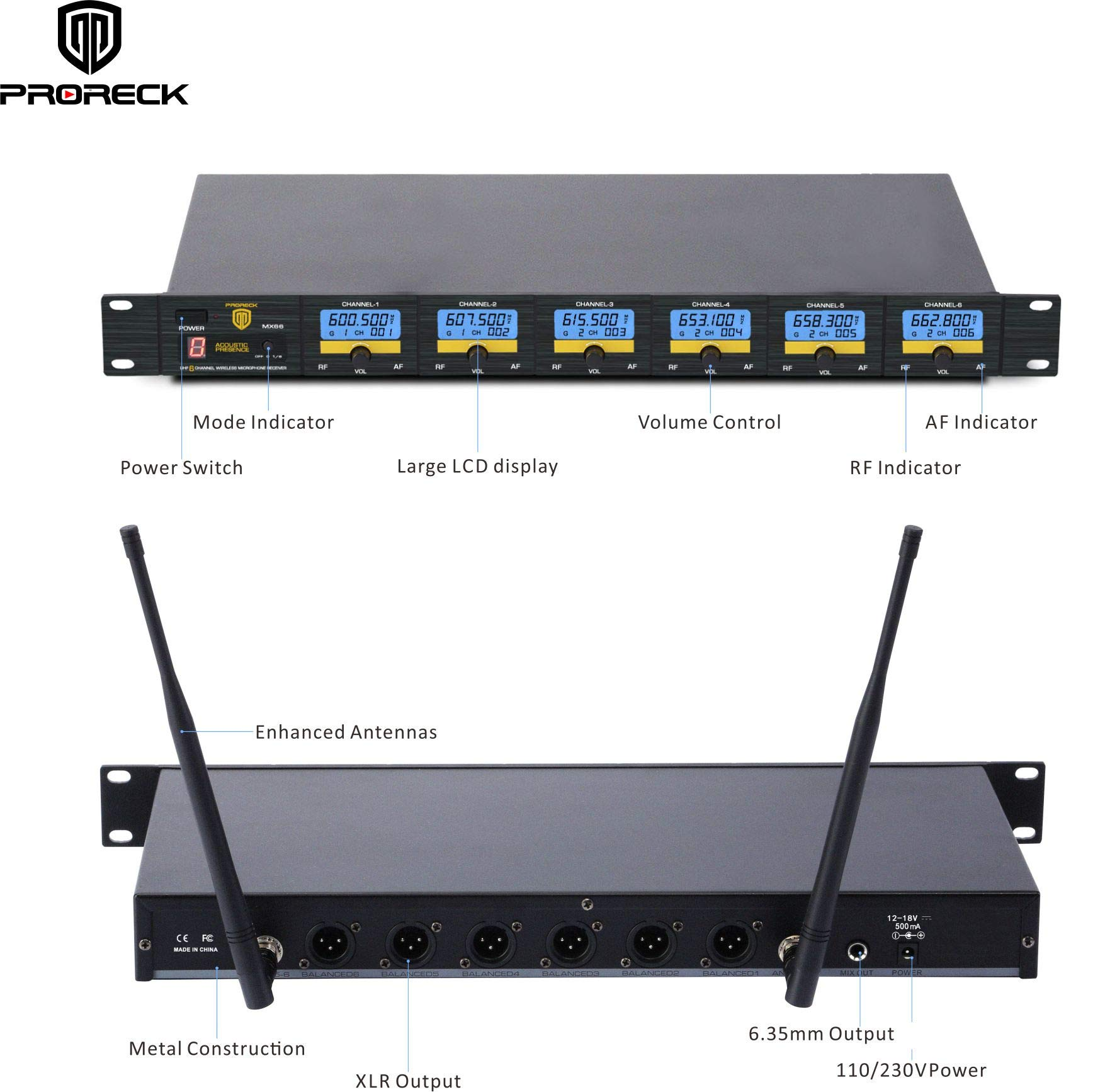 PRORECK MX66 6-Channel UHF Wireless Microphone System with 6 Hand-held Microphones Karaoke Machine for Party/Wedding/Church/Conference/Speech (New frequency) by PRORECK (Image #3)