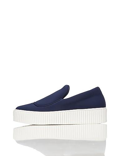 FIND Plateau Schuhe Damen Slipper mit gerippter Sohle und dekorativer Naht,  Blau (Blue) 083bd325fc