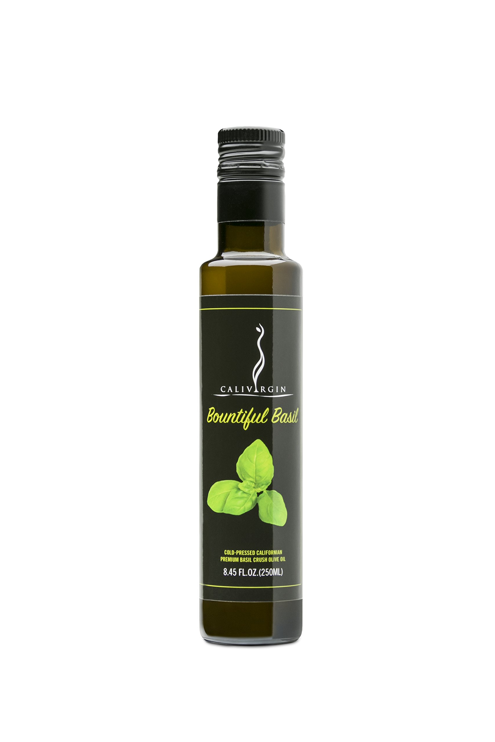 Calivirgin Bountiful Basil Flavor-Crushed Olive Oil - 100% Natural Fresh Flavor, No Additives or Preservatives - Organically and Sustainably Grown in California (8.45 Fl.Oz. / 250ML)