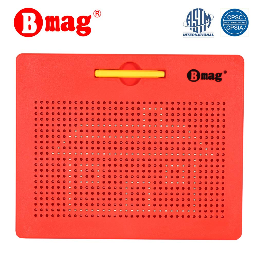 BMAG Magnetic Drawing Tablet, Educational Free Flay Doodle Board Magnatab Toys (red, 714 Ball pops)
