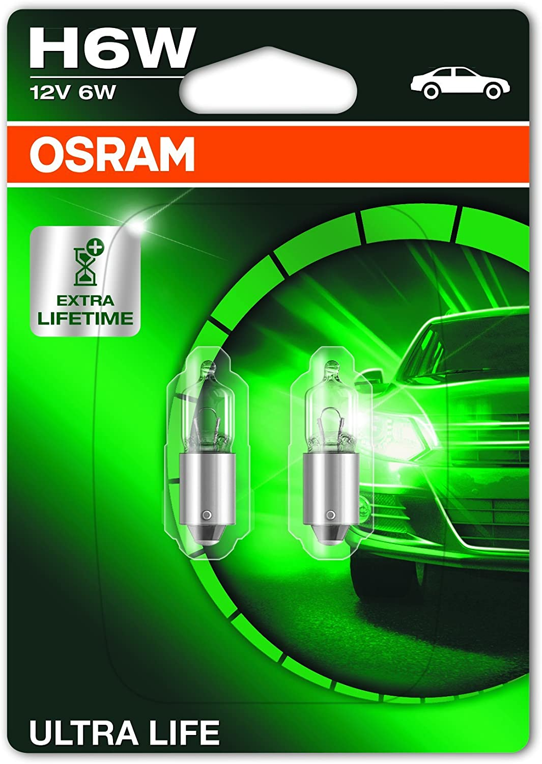parking and position light 12 V passenger car double blister OSRAM 64132ULT-02B ULTRA LIFE H6W halogen 2 units