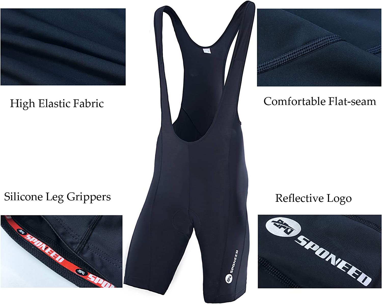 sponeed Cycling Bib Shorts Men Biker Bibs for Men Padded Breathable Racing Shorts UPF 50+: Clothing