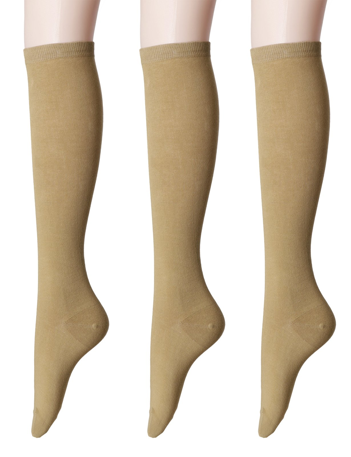 OSABASA Womens Casual Knee High Socks 3Pairs 1 Set with Cute Colorful Pattern(SET3KWMS0192-SKINBEIGE)