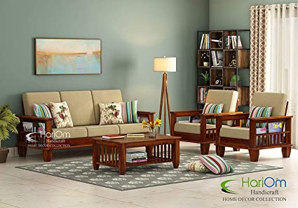 Hariom Handicraft Solid Sheesham Wood Sofa Set Wooden Sofa Set Living Room Furniture 3 1 1 Brown